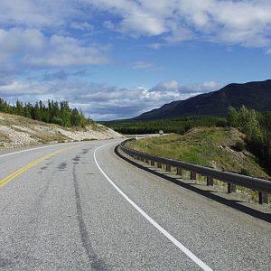 Alaska Highway with rainbow (Yukon Information)