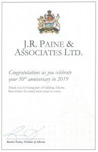 JR Paine 50th Anniversary Certificate